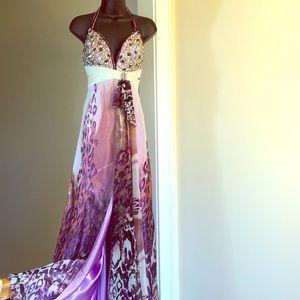 TIFFANY DESIGNS sz 2 purple multicolored gown prom